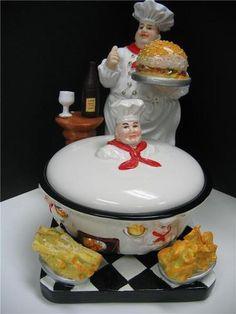3D Italian fat chef Candy dish holder W/ tray BISTRO Bar home Decor Kitchen NEW. | eBay