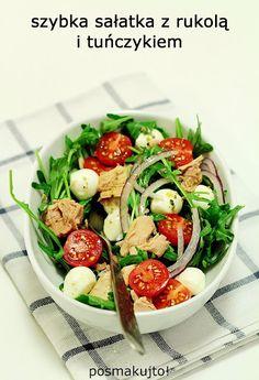 posmakujto! | Sałatka z tuńczykiem i rukolą Caprese Salad, Cobb Salad, Mozzarella, Lunch Box, Chicken, Cooking, Food, Party, Diet