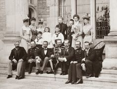 Empress Frederick of Germany, with her children, Kaiser Wilhelm II, Kaiserin Auguste Viktoria, Charlotte and Herzog Bernhard III von Sachsen-Meiningen, Heinrich and prinzessin Irene von Hessen und bei Rhein, Viktoria prinz Adolf zu Schaumburg-Lippe, Sophie and Konig Konstantin I von Griechenland, Margarethe and landgraf Friedrich Karl von Hessen, and some grand-children
