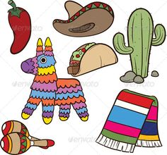 Mexican Items by memoangeles Cartoon Mexican items.Vector clip art illustration. Each element on a separate layer. EPS10 file included.