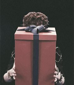"Imagine Chanyeol knocking on your door on Christmas Day, with that box in front of his face and then pulls it down when you open the door and says ""Merry Christmas Babe, I'll be your present. "" ;)"