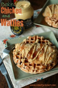 Baked Chicken and Waffles - A healthified version of the southern classic. Sweet, salty, dijon-y, crunchy. Everything you need in life. Chicken And Waffles, Baked Chicken, Waffle Recipes, My Recipes, Dinner Recipes, Best Chicken Recipes, Waffle Iron, Breakfast For Dinner, Breakfast Recipes