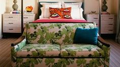 Fig Leaf fabric covered couch, Peter Dunham