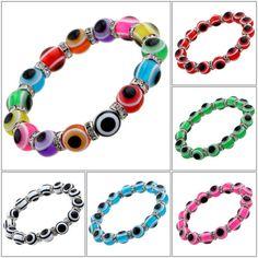 2016 New Fashion High Quality Crystal Beads Evil Eye Bracelets mix Colors Bracelets Bangles Fine Turkish Jewelry Women Bijoux