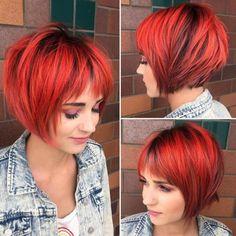 Funky Orange-Red Layered Bob