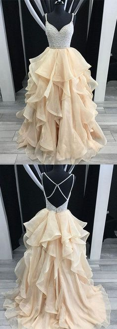 UPD0243, Unique champagne tulle sequin long prom dress, champagne evening dress #eveningdresses