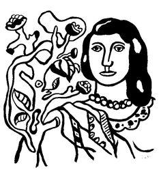 Ferand Leger Coloriage adulte La femme et la fleur