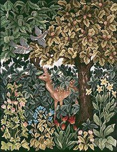 Beth Russell Needlepoint Greenery Deer  BR/GC/DEER
