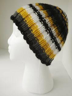 Hand knit toboggan, multicolored hat, black and white hat