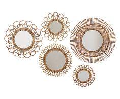 5 Miroirs muraux ACACIA, rotin et verre - rotin et verre