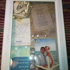 Shadow box for your Wedding day keepsakes! I put our save the date, wedding invitation, wedding day jewelry, the note he sent me that day and a picture to remember the best day of my life.