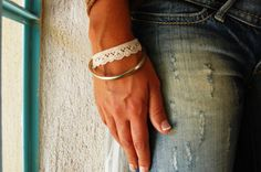 White Lace Bracelet Embroidered Bracelet by FashionAndScarves Lace Jewelry, Bridal Jewelry, Women Jewelry, Lace Bracelet, Cuff Bracelets, Handmade Bracelets, White Lace, Diy And Crafts, Unique