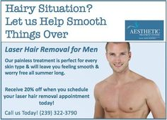Do you have a hairy situation? We're offering 20% laser hair removal for men! Call us right away: 239-322-3790. #laserhairremoval #naplesmedspa #atc #naplesspa