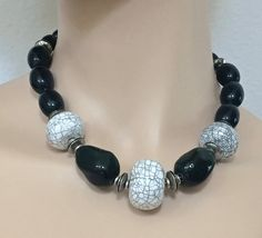 Art Deco Ceramic Bead Necklace-Black and Gray by mytimevintage