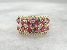 Wide Luxurious Ruby And Diamond Band For Wedding Or by MSJewelers