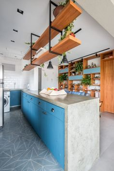 A São Paulo Apartment That Combines Rustic Elements and Shades of Blue - Design Milk Rustic Apartment, Rustic Contemporary, Küchen Design, Blue Design, Home Decor Kitchen, Decor Interior Design, Dining Area, Sweet Home, Architecture