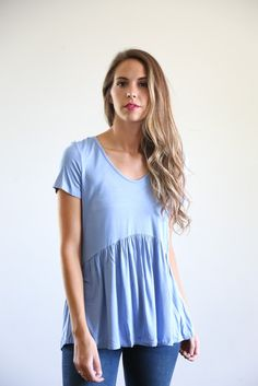 The Empire Peplum Blouse in Deep Periwinkle