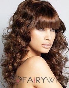 Pretty Medium Wavy Brown Synthetic Hair Wigs 16 Inch