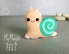 Snail felt ornament Cute snail decorations Nursery decor felt ornaments lake animals felt gift for kids