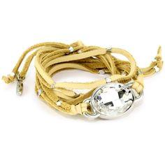 "Ettika ""Leather"" Silver Oval Crystal Stone Tan Wrap Bracelet ... endless.com"