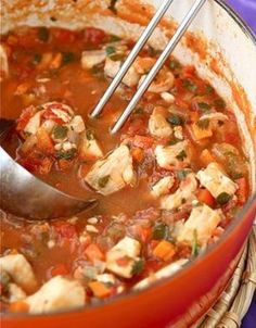 Fisherman's Soup ~ This richly flavored, but simple, fisherman's soup is filled with tilapia (or other white fish), shrimp and a spicy tomato broth.