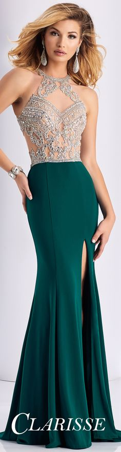 Sexy Clarisse Top Selling Prom Dress 3184! Crystals over nude mesh, a halter neckline and a fitted jersey skirt. COLOR: Forest Green, Marsala, Black SIZE: 00-16 Click through to find more gorgeous prom dresses and visit our Where to Buy Tab to find your closest Clarisse retailer!