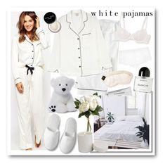 """White Pajamas"" by shehanisamara ❤ liked on Polyvore featuring J.Crew, Eberjey, Olivia von Halle, Bluebella, MORPHO + LUNA, Addiction, rms beauty, La Perla, Byredo and Gund"