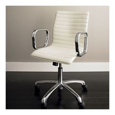 Den desk chair option - Ripple Ivory Leather Office Crate and Barrel