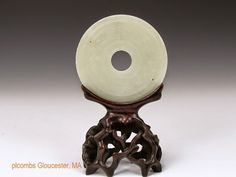 White Chinese Carved Jade Bi Disk