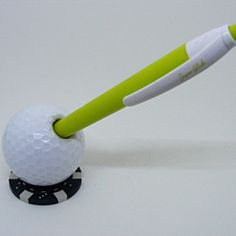 Golf Ball Pen Holder with Golf Ball Marker Poker Chip Base by Adamo Golf on Opensky