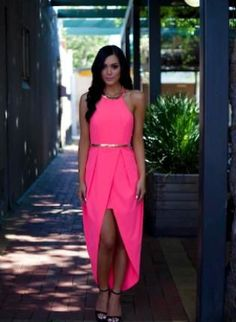 Pink High-Low Wrap Dress with Halter Neck, Dress, pink highlow wrapstyle gold split, Chic