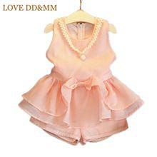 2017 verão novos conjuntos de roupas meninas roupa dos miúdos desgaste colar de pérolas bonito vest dress + shorts conjuntos(China (Mainland))