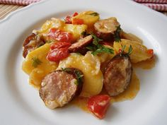 Baked Potato, Ham, Potato Salad, Sausage, Potatoes, Baking, Ethnic Recipes, Diet, Red Peppers