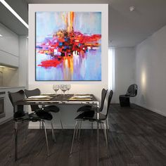 Abstract Art in Multicolored, Blue and Red House Painting Colour Combinations, Wall Color Combination, Interior Wall Colors, Colorful Wall Art, Hand Painting Art, Your Paintings, Wall Paintings, Large Art, Abstract Art