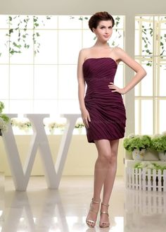 Strapless fully side dropping ruched short chiffon dress