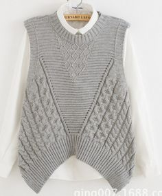 female grey pink sleeveless sweater vest cable twisted loose jumper knitwear pullover lady irregular hem back hollow out tops Summer Knitting, Knit Vest, Knit Fashion, Pulls, Knitwear, Knit Crochet, Knitting Patterns, Clothes For Women, Sweaters