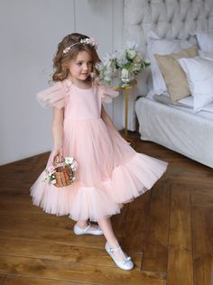Flower girl dress, Blush pink girl dress, Tulle flower girl dress, White toddler dress, First communion dress Tulle Flower Girl, White Flower Girl Dresses, Tulle Flowers, Little Girl Dresses, Girls Dresses, Pageant Dresses, Flower Girls, Pink Dress, Dress Black
