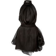 Brandon Maxwell Halter Mini Dress found on Polyvore featuring dresses, vestidos, black, halter cocktail dress, short pleated dress, pleated halter dress, halter top and little black dress