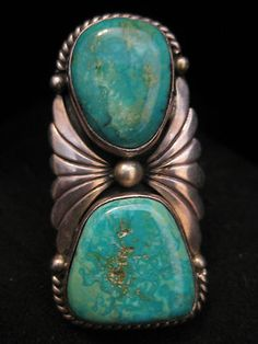 OLD PAWN NAVAJO BIRDSEYE TURQUOISE STERLING RING