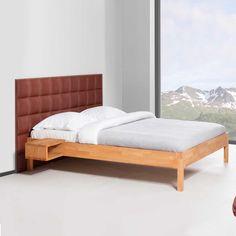 Doppelbett mit Wandpaneel Rot 140x200