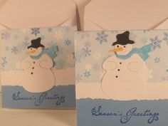 Set of Two  3X3  Mr  Snowman Cards by nyra on Etsy