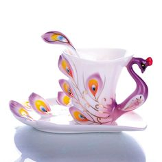 Free shipping Porcelain enamel Mugs peacock coffee cup tea set cup fashion ceramic fashion colored drawing set creative tea cup-inMugs from Home & Garden on Aliexpress.com