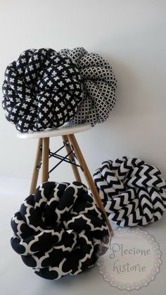 black and white <3 NEST knot pillows