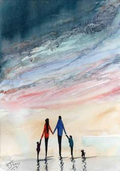 Original Signed Watercolour Painting ~ The Five Of Us ~ By KJ CARR