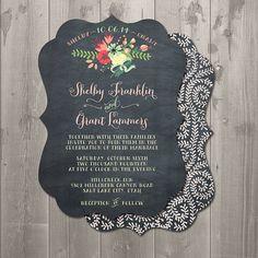 Chalkboard Floral Ornate Wedding Invitation - DIY Printable Invitation $15.00