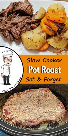 The Perfect Pot Roast It really is hard to beat a fall apart tender roast. The best part is you put it in the slow cooker with 5 minutes of prep and then forget about it all day while you work, play or relax. Crock Pot Slow Cooker, Slow Cooker Recipes, Gourmet Recipes, Crockpot Recipes, Cooking Recipes, Healthy Recipes, Pot Roast Recipes, Cooking Bacon, Perfect Pot Roast