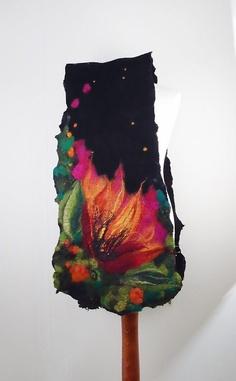 Felted Scarf Flower Wrap Nuno felt Scarves Felt flower by filcant