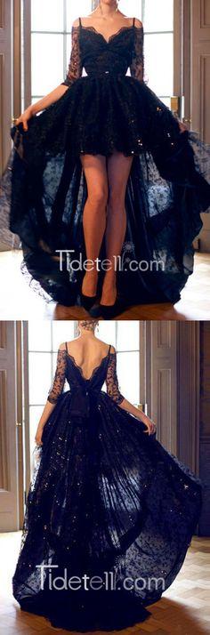 prom dresses, 2016 black lace prom dresses, high-low prom dresseds