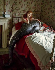 Karen Elson and 'The Giant Crocodile', Fashion: Giles Deacon, Footprints, Brentford, 2008, © Tim Walker