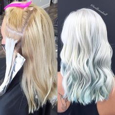 """Willow Shull (@willowshull) of Kharma Design Studio, Victoria BC, caught out eye with this gorgeous white ice blonde accented with some pretty blue peek-a-boo pieces. """"Her hair was already pretty light golden blonde,"""" says Shull of her client. """"She has been coloring her roots with box color at home."""" Here Shull shares the how to: Step 1: Apply Wella Blondor with 30 volume catalyst and Olaplexin a virgin application (off root)."""